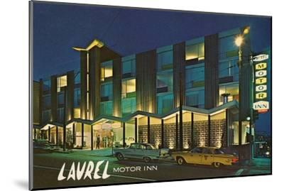 Laurel Motor Inn at Night--Mounted Art Print
