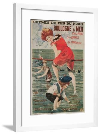 Early French Bathing Beauty, Boulogne--Framed Art Print