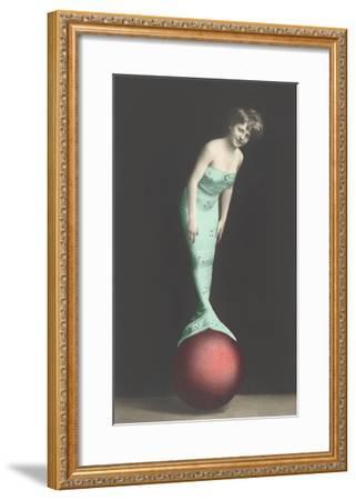 Mermaid Balanced on Ball--Framed Art Print