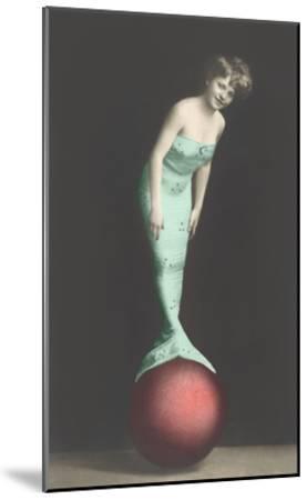 Mermaid Balanced on Ball--Mounted Art Print