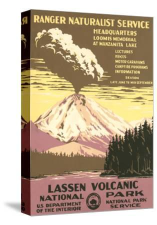 Lassen Volcanic National Park Travel Poster--Stretched Canvas Print