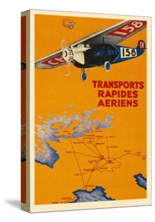 Early French Air Routes, Monoplane--Stretched Canvas Print