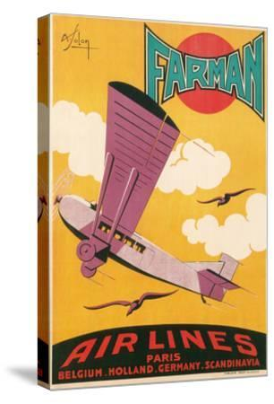 Travel Poster with Purple Airplane--Stretched Canvas Print