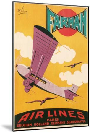 Travel Poster with Purple Airplane--Mounted Art Print