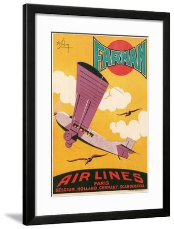 Travel Poster with Purple Airplane--Framed Art Print