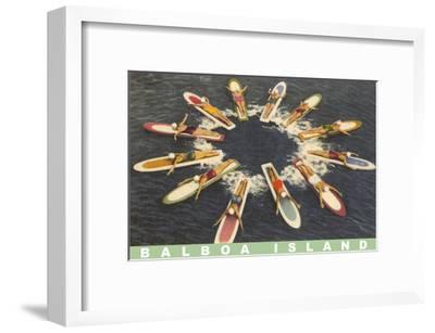 Balboa Island Female Surfers Paddling--Framed Art Print