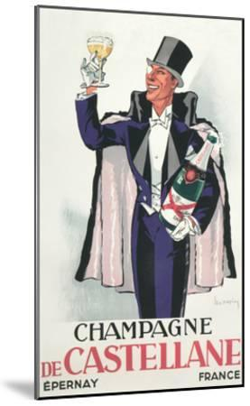 Bon Vivant with Champagne and Monocle--Mounted Art Print