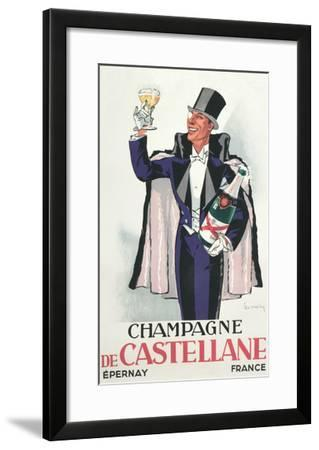 Bon Vivant with Champagne and Monocle--Framed Art Print