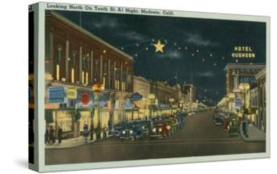 Downtown Modesto at Night--Stretched Canvas Print