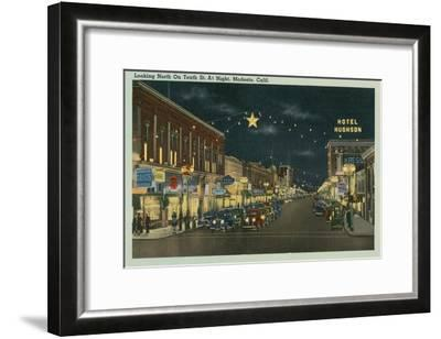 Downtown Modesto at Night--Framed Art Print