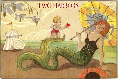 Two Harbors, Mermaid and Cupid--Stretched Canvas Print