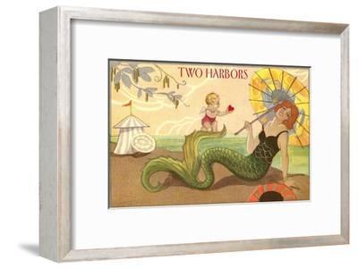 Two Harbors, Mermaid and Cupid--Framed Art Print