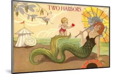 Two Harbors, Mermaid and Cupid--Mounted Art Print