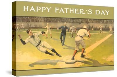 Happy Father's Day, Old Time Baseball Game--Stretched Canvas Print