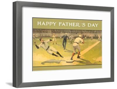 Happy Father's Day, Old Time Baseball Game--Framed Art Print