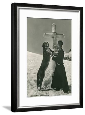 St. Bernard Dog Wtih Priest at Cross--Framed Art Print