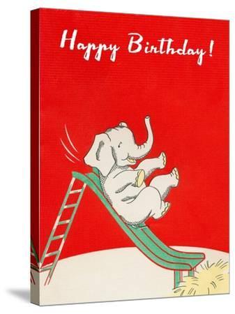 Happy Birthday, Elephant on Slide--Stretched Canvas Print