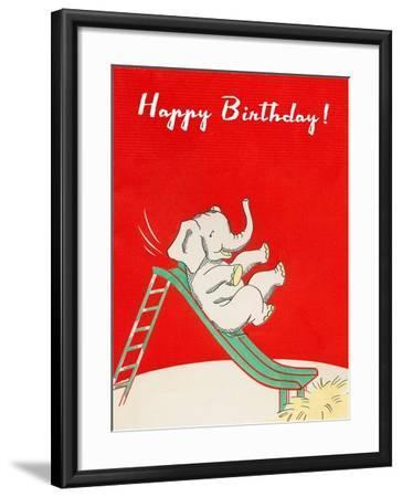 Happy Birthday, Elephant on Slide--Framed Art Print