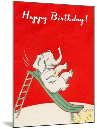 Happy Birthday, Elephant on Slide--Mounted Art Print