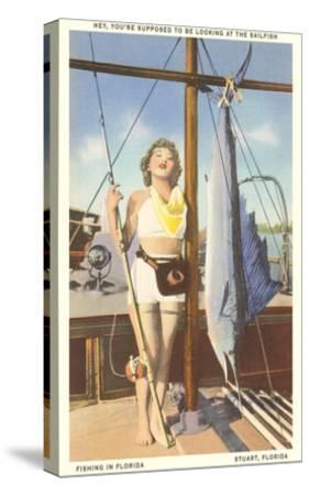 Bathing Beauty and Sailfish, Stuart, Florida--Stretched Canvas Print
