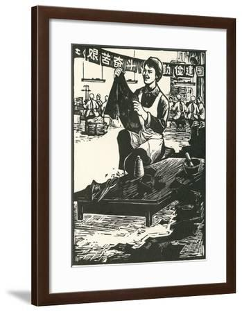 Chinese Worker Cutting Cloth--Framed Art Print