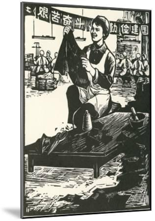 Chinese Worker Cutting Cloth--Mounted Art Print
