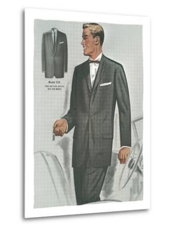 Man in Black Suit Illustration--Metal Print