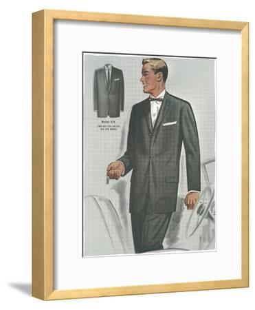 Man in Black Suit Illustration--Framed Art Print