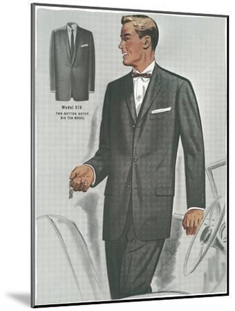 Man in Black Suit Illustration--Mounted Art Print
