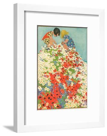 Little Girls in Field of Flowers--Framed Art Print