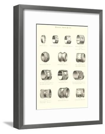 Variety of Engraved Napkin Rings--Framed Art Print