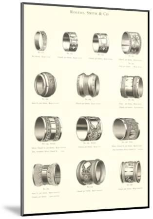 Variety of Engraved Napkin Rings--Mounted Art Print