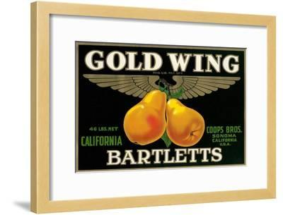Packing Crate Label, Gold Wing Pears--Framed Art Print