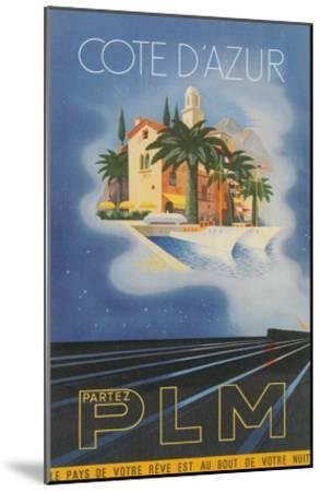 Travel Poster for Cote d'Azur--Mounted Art Print