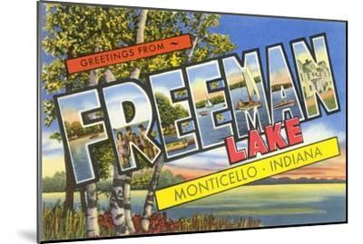 Greetings from Freeman Lake, Monticello, Indiana--Mounted Art Print