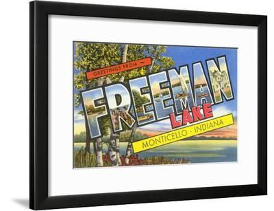 Greetings from Freeman Lake, Monticello, Indiana--Framed Art Print