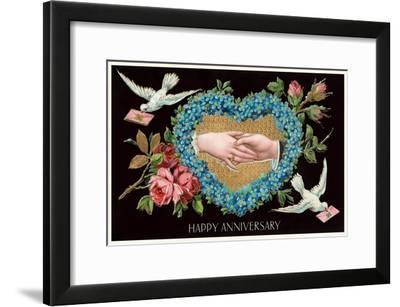 Old Fashioned Happy Anniversary--Framed Art Print