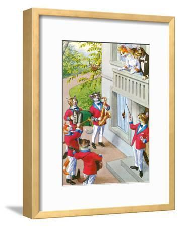 Newlywed Cats Serenade--Framed Art Print