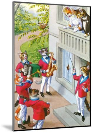 Newlywed Cats Serenade--Mounted Art Print