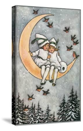 Winter, Children on Moon--Stretched Canvas Print