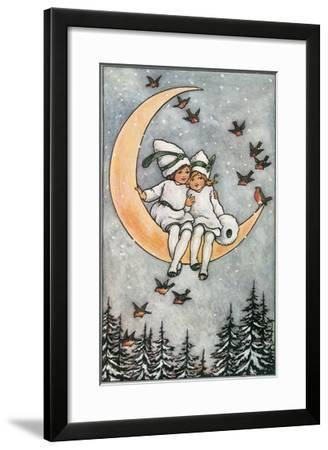Winter, Children on Moon--Framed Art Print