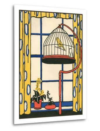 Canary in Cage--Metal Print