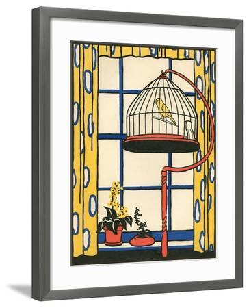 Canary in Cage--Framed Art Print