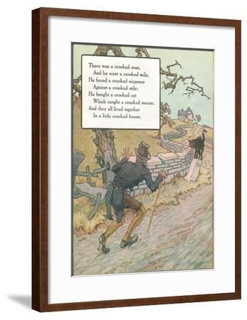 Mother Goose Rhyme, Crooked Man--Framed Art Print