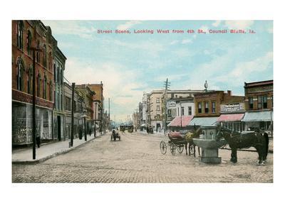 Early Downtown Council Bluffs, Iowa--Framed Art Print