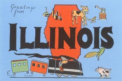 Greetings from Illinois, Cartoon--Stretched Canvas Print