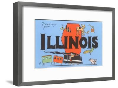 Greetings from Illinois, Cartoon--Framed Art Print