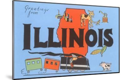 Greetings from Illinois, Cartoon--Mounted Art Print