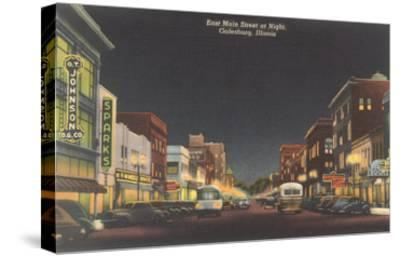 Night, Main Street, Galesburg, Illinois--Stretched Canvas Print