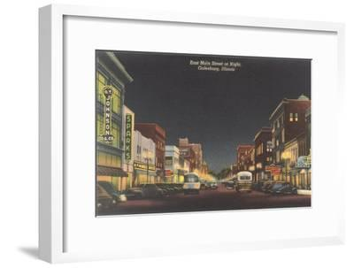 Night, Main Street, Galesburg, Illinois--Framed Art Print